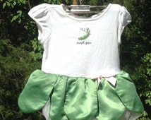 Gymboree  Sweet Pea White/Green Bodysuit Tutu Costume ~ Babies 1st Halloween, Dress Up, Role Play, Theater, Reenactment