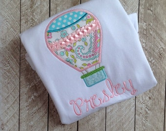 Air balloon personalized applique shirt-Hot air baloon shirt-Applique shirt-personalized-Girl summer shirt