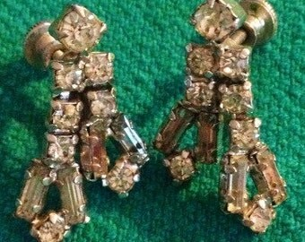Vintage crystal dangle clip on earrings made in the 1970's