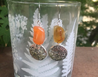 Sand dollar carnelian earrings