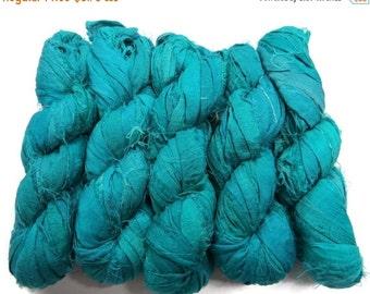 SALE 50g  Sari Silk Ribbon, Baltic Turquoise
