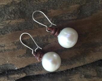 12mm single pearl drop earrings