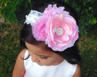 Flower and Lace Pearl Headband