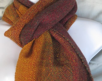 Autumn Gradient - hand woven, hand spun, wool and mohair scarf