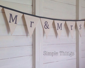 Mr & Mrs Wedding Bunting - Colour of your choice