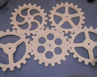 Wooden Gears, Wood Gears, Steampunk Industrial Design - Five 10 Inch Gears With Five Different Design