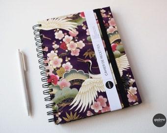 Book of recipes - Fabric purple Japanese - crane