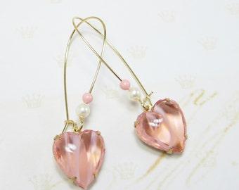 Peach Heart Earrings Rhinestone Heart Ear Dangles Victorian Shabby Chic