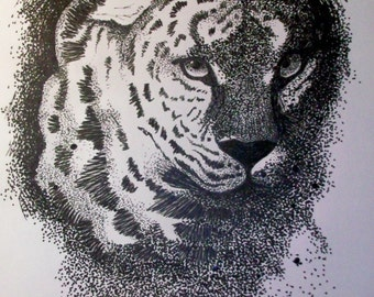 """ORIGINAL pen and ink drawing of """"leopard"""""""