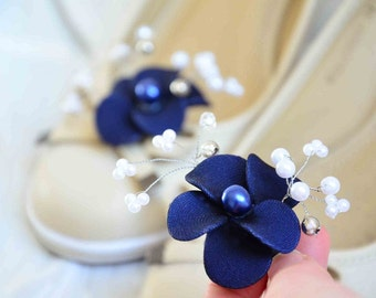 Navy blue shoe clips Bridesmaid shoe clips Navy blue shoe clips Bridal flower for shoe Shoe clips Bridesmaid gift