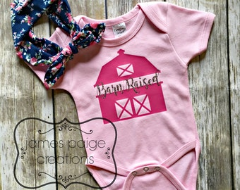 BARN RAISED Infant Outfit, Farm Baby Bodysuit, Barn Baby, Sparkle Baby Girl Clothes,  Baby Girl Shirt, Cute Baby Clothes,  Baby Shower Gift