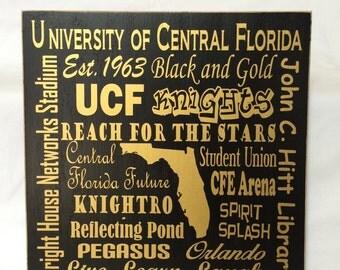 The University of Central Florida sign,  UCF Knights, College graduation sign, University of Central Florida Subway art,