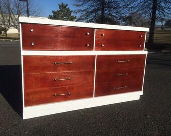 Mid Century Modern White and Mahogany 6 Drawer Dresser
