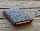 iPhone Sleeve / iPhone Cover / iPhone Case in Mottled Dark Grey and Red 100% Wool Felt