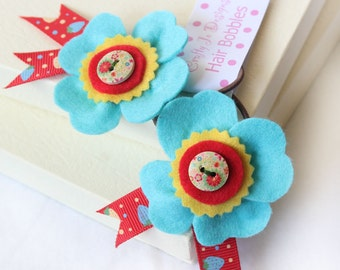 Girls Hair Elastics, Bright Blue Flower Hair Bobbles, Set of Two Felt Ponytail Holders with a Wooden Button Decoration