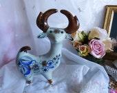 Vintage 1960s Figurine-Deer in Tonala Blue by El Palomar Signed KE