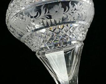 Superb Hawks Antique Crystal Vase Antique Cut Glass Bowl American Brilliant Cut Glass