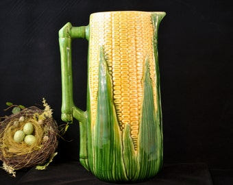 Huge 12 in. tall, Antique majolica corn pitcher, Vintage majolica pottery, rare collectable