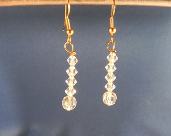 Handcrafted Earrings Crystal Dangles Gold Tone Fishooks