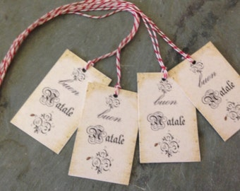 Christmas Gift Tags Buon Natale old world look hang tag for packages, gifts, homemade goodies Italy wedding rehearsal dinner party