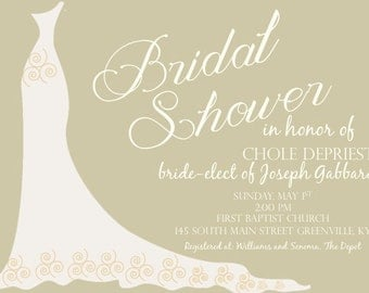 Digital Wedding Dress Bridal Shower Invitation