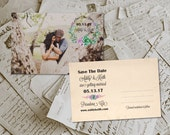 """Wedding Save The Date Cards - SpringFloral Rustic Whimsical Floral Photo Personalized 4""""x6"""""""