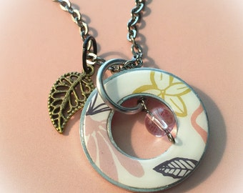 Metal washer jewelry, metal pendant, floral jewelry, floral pendant, washer necklace