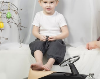 Grey linen boys harem shorts - graphite // Size 6-12month (EU74) up to 6 years (EU116)