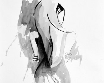 Print of Ink Illustration 'Margaret' by Kerry Brooks