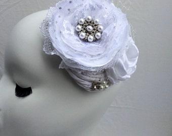 Wedding Hair accessory-fabric flower fascinator-Elegant White Satin rose-lace wedding flower-white rose hair accessory-lace fabric flower