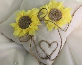 Sunflower Ring Bearer Pillow, Burlap ring bearer pillow, ring pillow, sunflower wedding decor