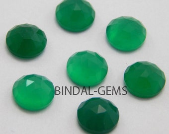 10 Pieces Wholesale Lot Green Onyx Round Shape Rose Cut Loose Gemstone For Jewelry