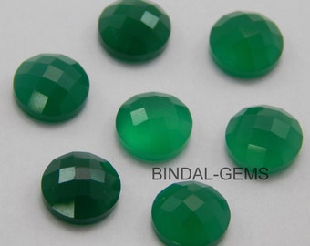 15 Pieces Wholesale Lot Green Onyx Round Shape Checker Cut Gemstone for Jewelry