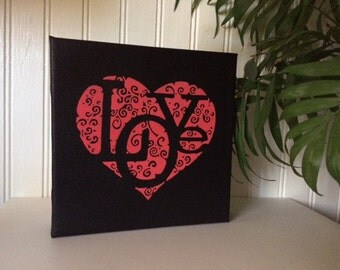 Red Love Painting - Valentine's Day Gift - Love in Swirls - Swirl Heart and Love Artwork - 6x6 Canvas - Black Background
