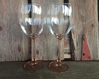 2 vintage Pink wine glasses, french crystal, vintage glassware, wedding toasting, vintage wine glasses, shower, wedding brunch, pink glass