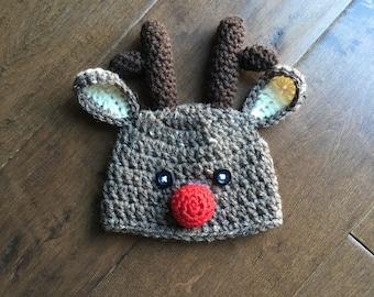 reindeer hat, newborn reindeer hat, christmas hat, newborn photo prop, christmas photo prop