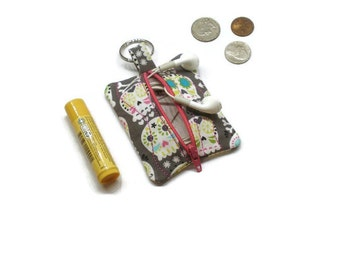 Mini sugar skulls zippered pouch coin purse, earbuds holder case.