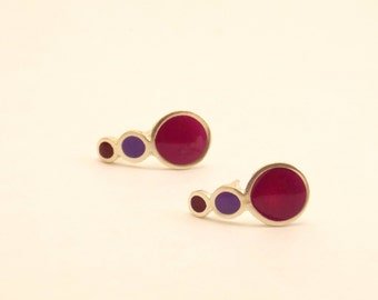 Drop stud earrings -  Sterling Silver Ear Studs - Purple - Bubble  earrings -  Spring - Summer  - Valentine's Day