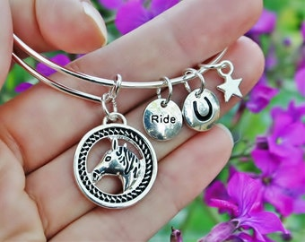 Horse Head Jewelry Expandable Bangle Adjustable Wire Bracelet Sterling Silver Plt Charms Pony Horseshoe Hoof Print Ride Mother's Day  Gift