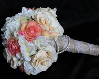 Wedding Bouquet, rose bouquet, ivory bouquet, real touch roses, bridal bouquet, rustic bouquet, bridal bouquet, wedding flowers,