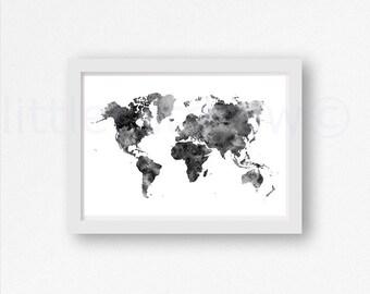 noir et blanc mappemonde aquarelle art print wall par littlecatdraw. Black Bedroom Furniture Sets. Home Design Ideas