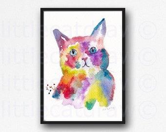 Rainbow Cat Portrait Illustration Art Watercolor Painting Print Cat Print Wall Art