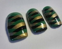 Loki inspired square tip press on nails set of 20