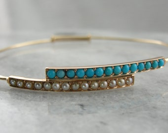 Original Victorian Turquoise and Pearl Stacking Bangle Bracelet 0LVENX-N