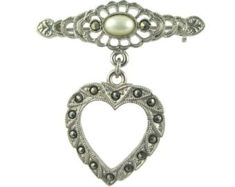 Vintage Marcasite Sweet  Heart Faux Pearl Cabochon Silver Tone Fob Pin Brooch