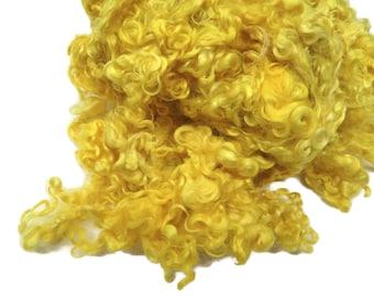 1 oz Premium Kid Mohair wool locks , Canary Yellow