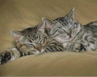 "SLEEPY KITTENS Pastel Print 5"" x 7"""