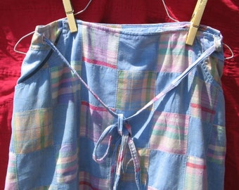 SALE vintage pastel madras patchwork wrap skirt
