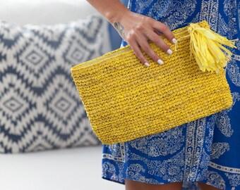 Straw Clutch, Summer Purse,Straw Clutch Bag,Yellow Beach Bag