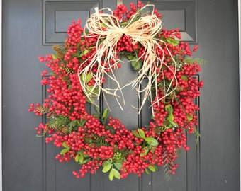 SALE, Christmas Wreath, Berry Holiday Wreath, Christmas Wreaths, Holiday Wreath, Red Christmas Wreath, Christmas Door, Christmas Door Wreath